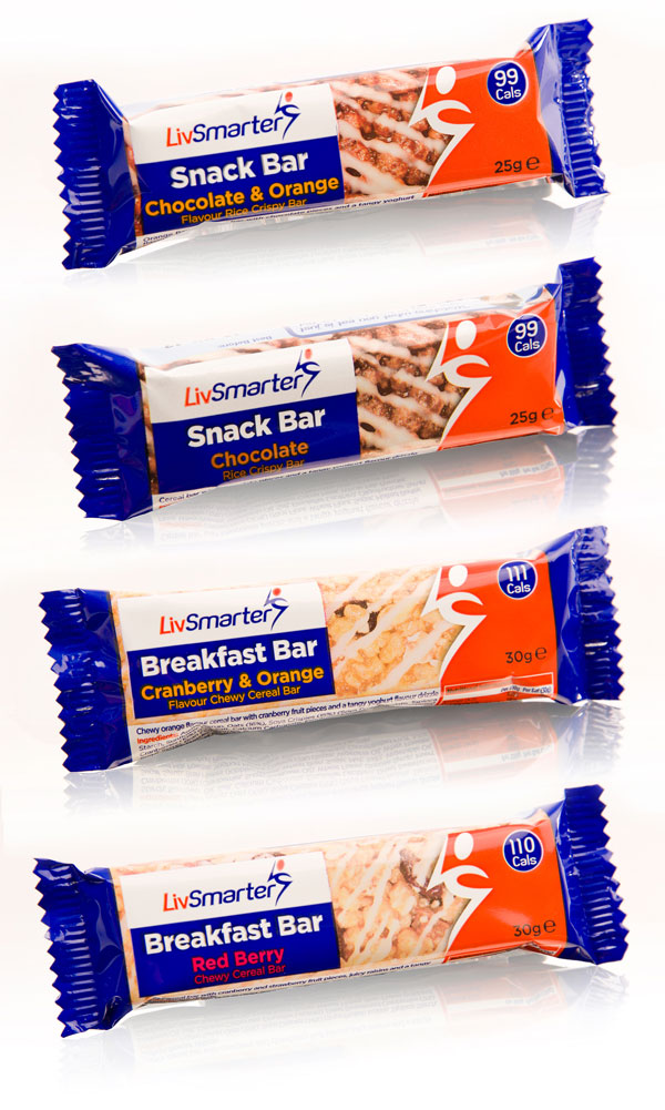 Singles packaging for LivSmarter snack bars - chocolate & orange, chocolate, cranberry & orange and red berry flavours