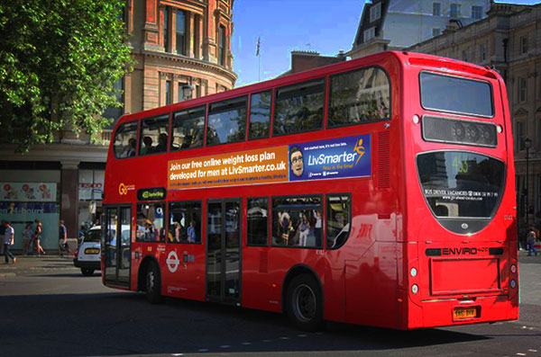 Large Print Outdoor Bus Side Advertisement for LivSmarter