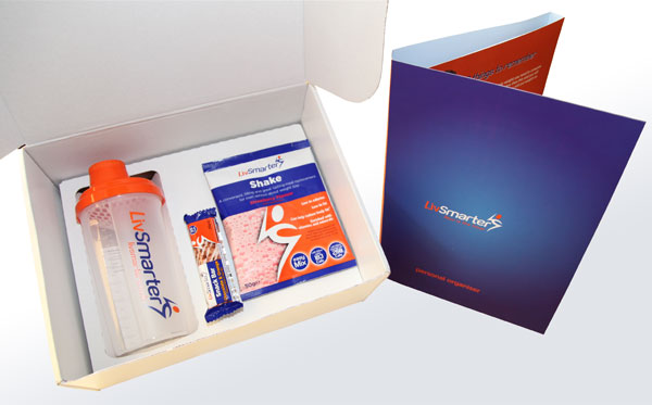 Inside the LivSmarter Toolbox - Shake sachet, snack bar, shaker bottle and brochure
